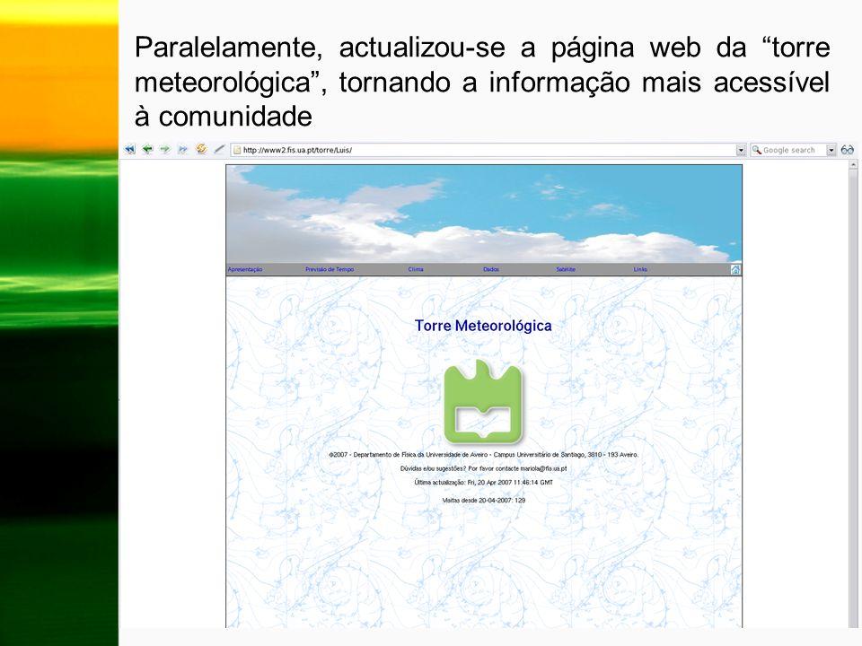 Paralelamente, actualizou-se a página web da torre meteorológica , tornando a informação mais acessível à comunidade