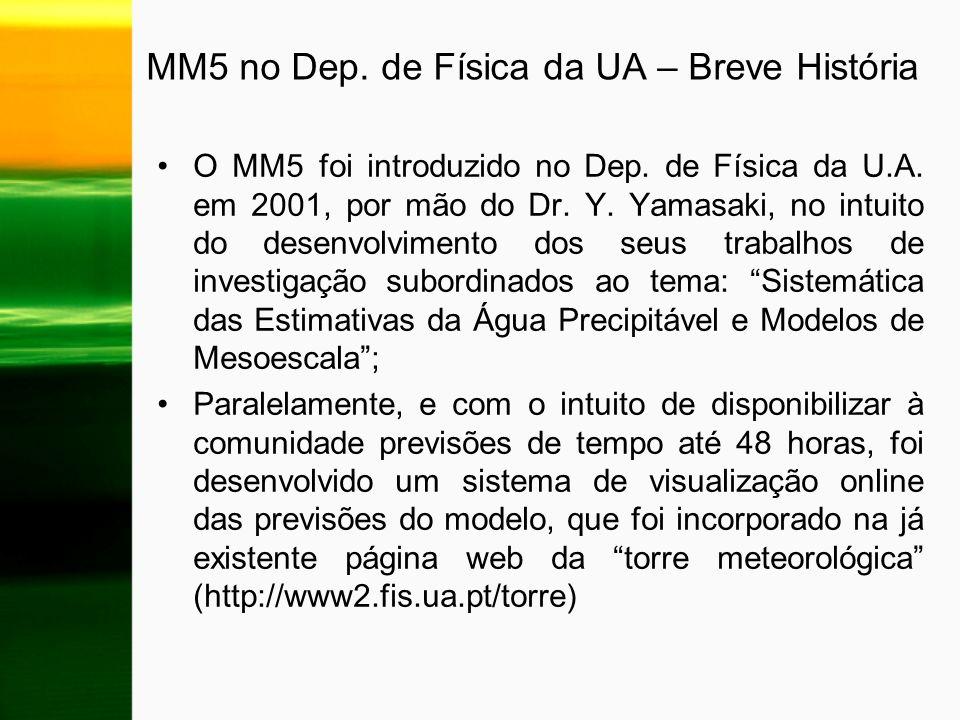 MM5 no Dep. de Física da UA – Breve História
