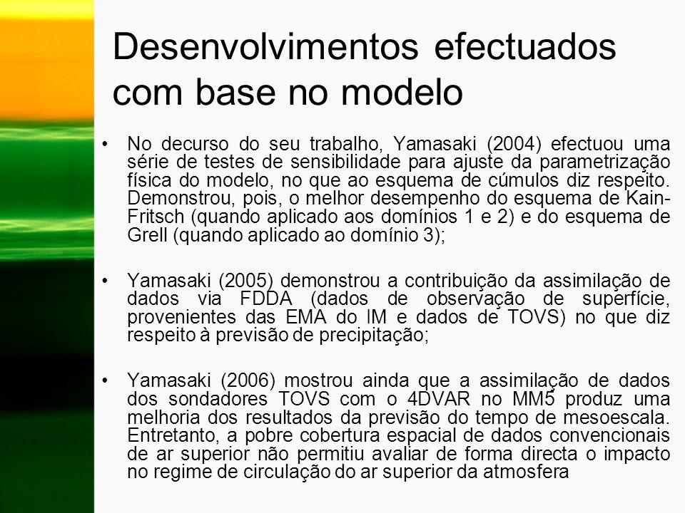 Desenvolvimentos efectuados com base no modelo