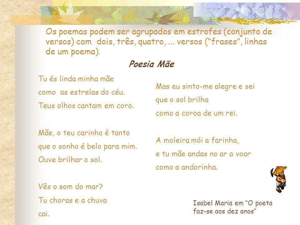 Os poemas podem ser agrupados em estrofes (conjunto de versos) com dois, três, quatro, ... versos ( frases , linhas de um poema).