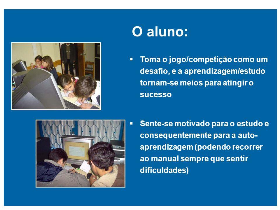 O aluno: Toma o jogo/competição como um desafio, e a aprendizagem/estudo tornam-se meios para atingir o sucesso.