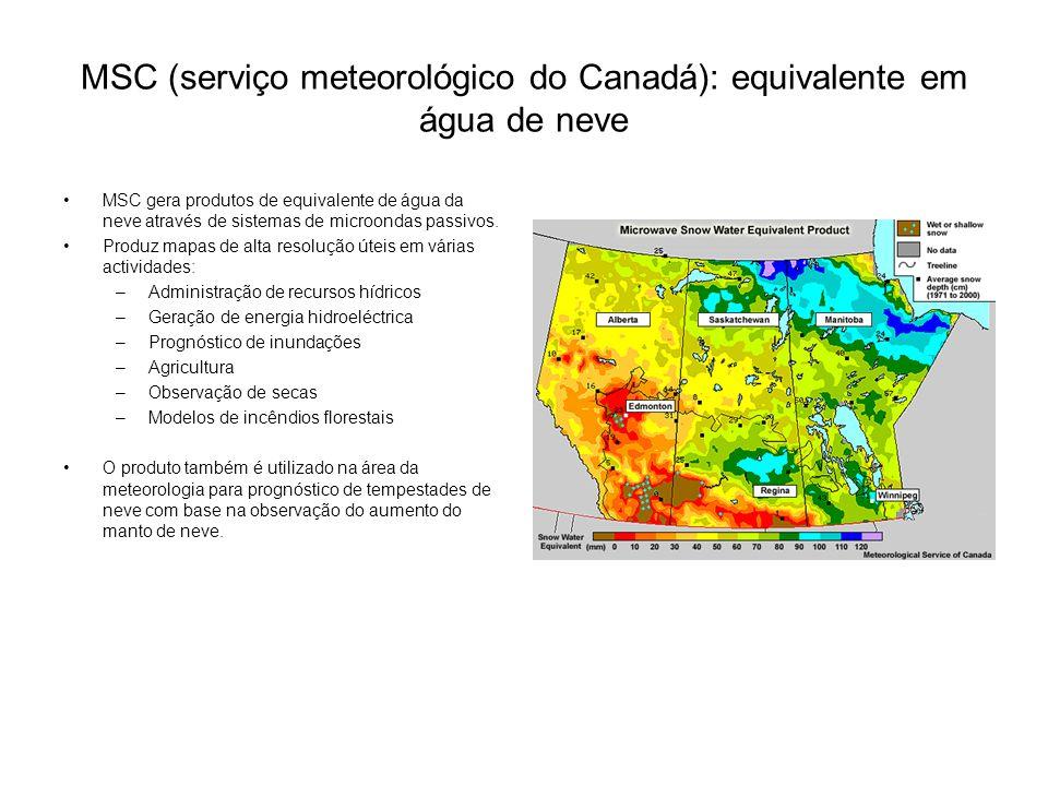 MSC (serviço meteorológico do Canadá): equivalente em água de neve