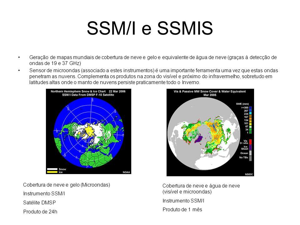SSM/I e SSMIS Geração de mapas mundiais de cobertura de neve e gelo e equivalente de água de neve (graças à detecção de ondas de 19 e 37 GHz)