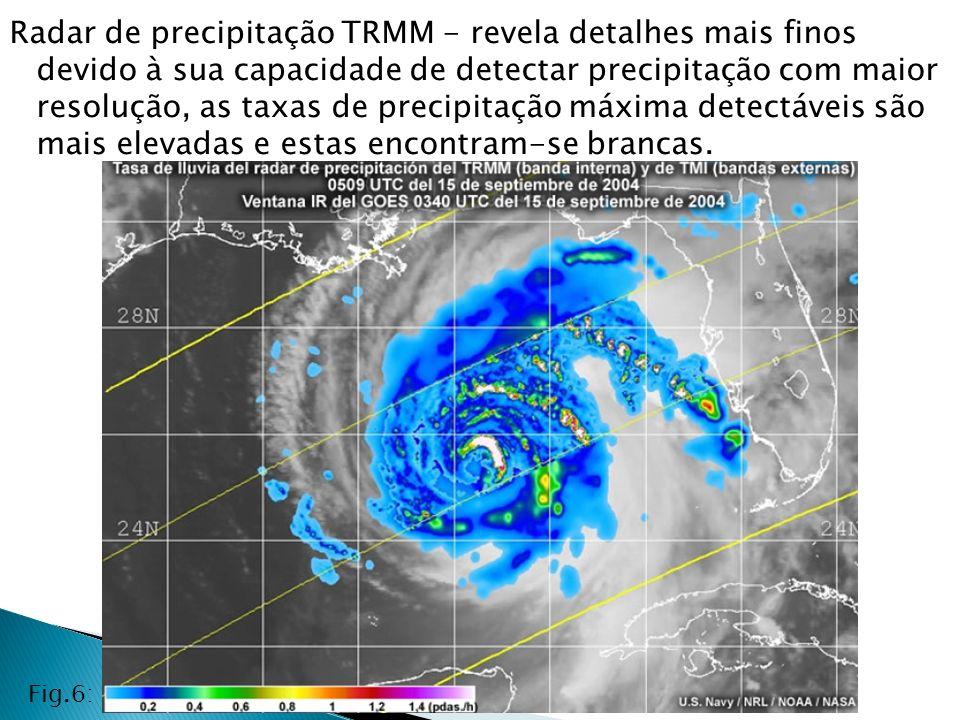 Radar de precipitação TRMM - revela detalhes mais finos devido à sua capacidade de detectar precipitação com maior resolução, as taxas de precipitação máxima detectáveis são mais elevadas e estas encontram-se brancas.