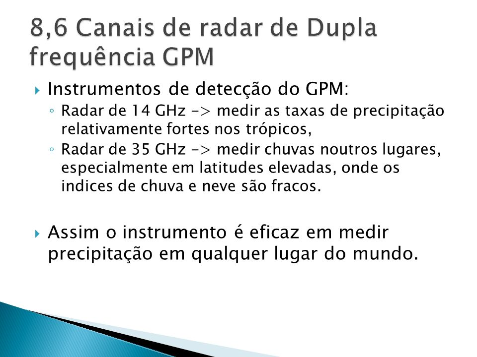 8,6 Canais de radar de Dupla frequência GPM