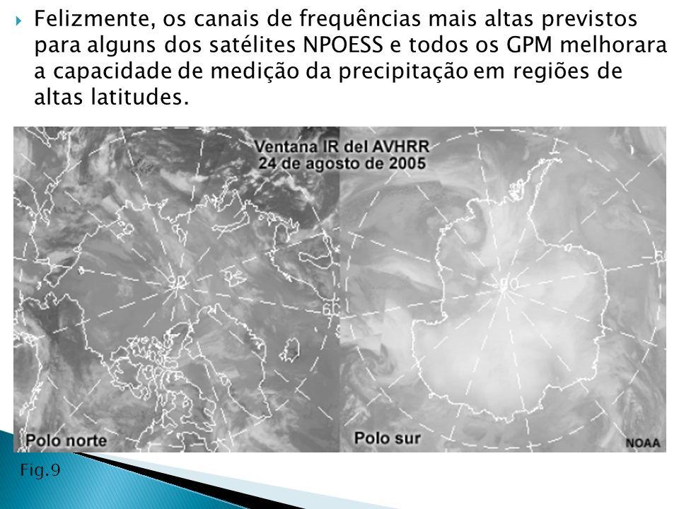 Felizmente, os canais de frequências mais altas previstos para alguns dos satélites NPOESS e todos os GPM melhorara a capacidade de medição da precipitação em regiões de altas latitudes.