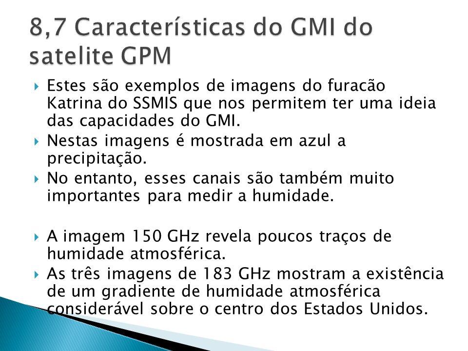 8,7 Características do GMI do satelite GPM