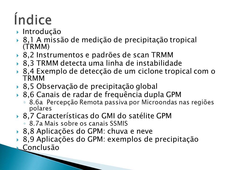 Índice Introdução. 8,1 A missão de medição de precipitação tropical (TRMM) 8,2 Instrumentos e padrões de scan TRMM.