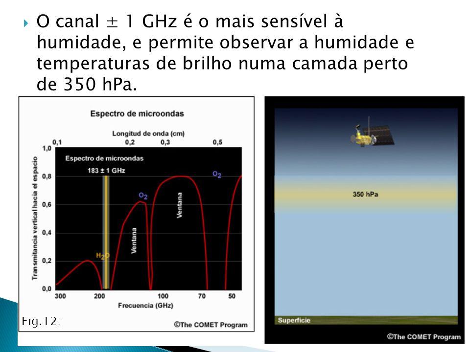 O canal ± 1 GHz é o mais sensível à humidade, e permite observar a humidade e temperaturas de brilho numa camada perto de 350 hPa.