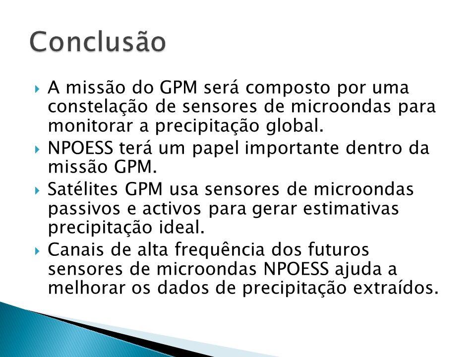 Conclusão A missão do GPM será composto por uma constelação de sensores de microondas para monitorar a precipitação global.