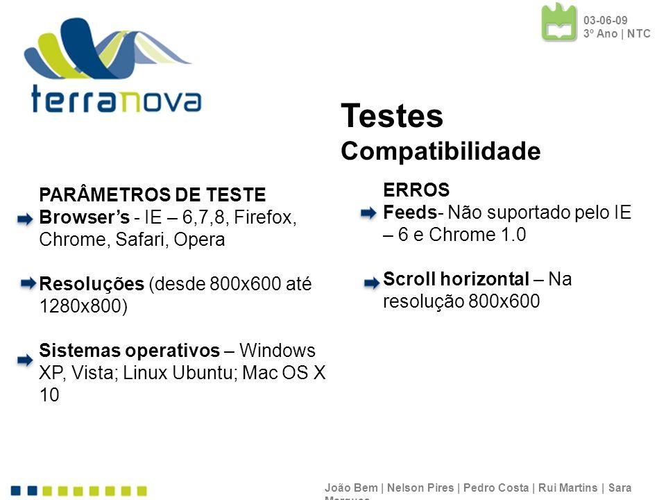 Testes Compatibilidade ERROS PARÂMETROS DE TESTE