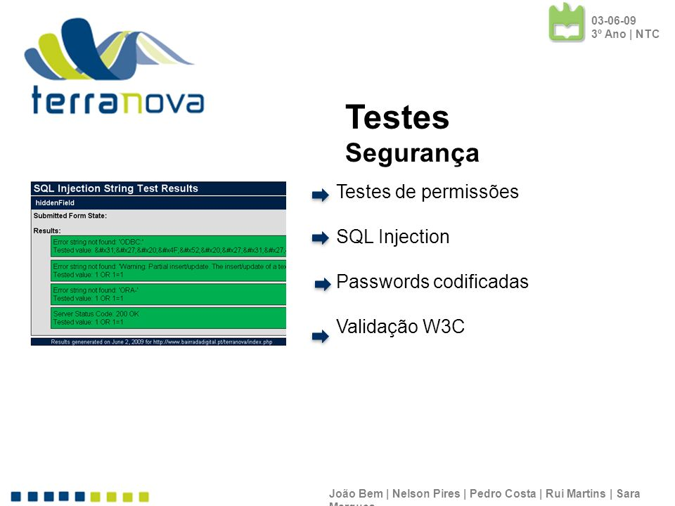 Testes Segurança Testes de permissões SQL Injection