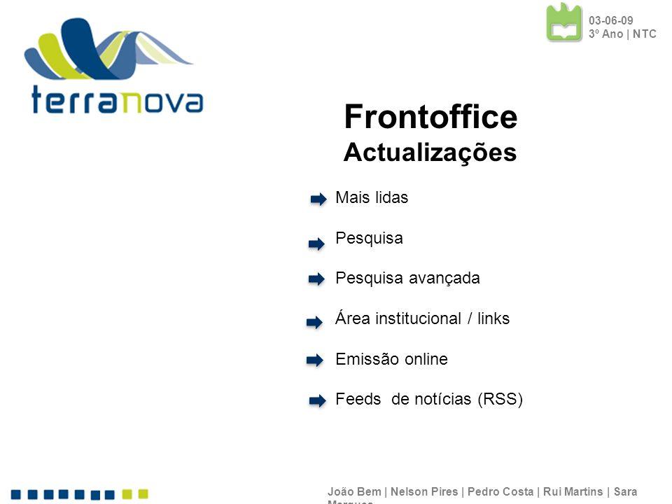 Frontoffice Actualizações Mais lidas Pesquisa Pesquisa avançada
