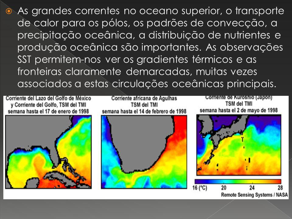 As grandes correntes no oceano superior, o transporte de calor para os pólos, os padrões de convecção, a precipitação oceânica, a distribuição de nutrientes e produção oceânica são importantes.