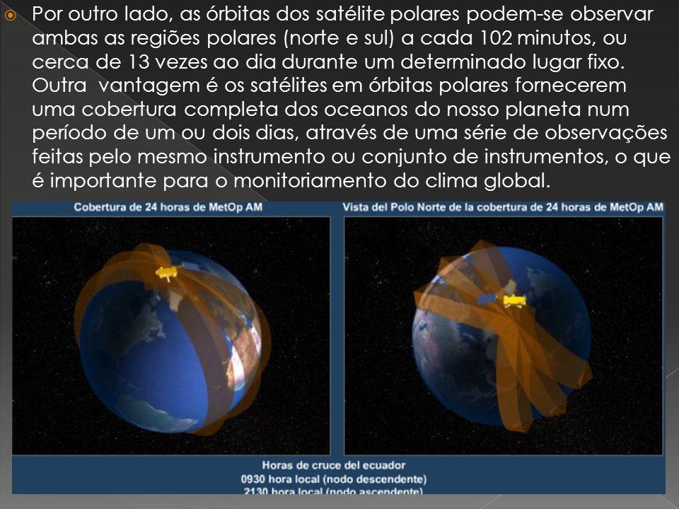 Por outro lado, as órbitas dos satélite polares podem-se observar ambas as regiões polares (norte e sul) a cada 102 minutos, ou cerca de 13 vezes ao dia durante um determinado lugar fixo.