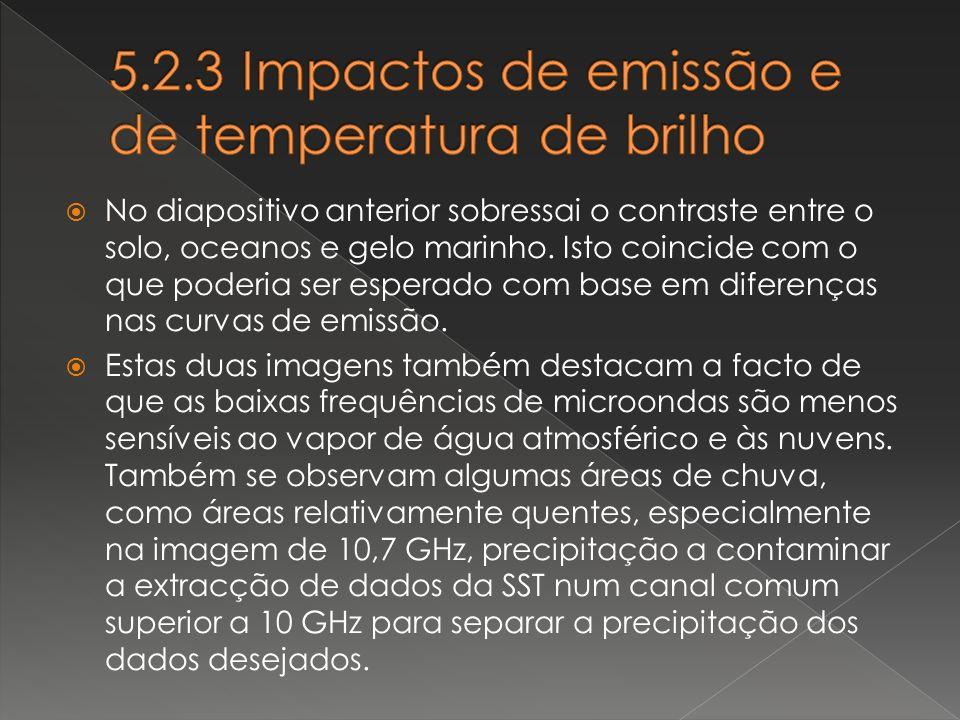5.2.3 Impactos de emissão e de temperatura de brilho