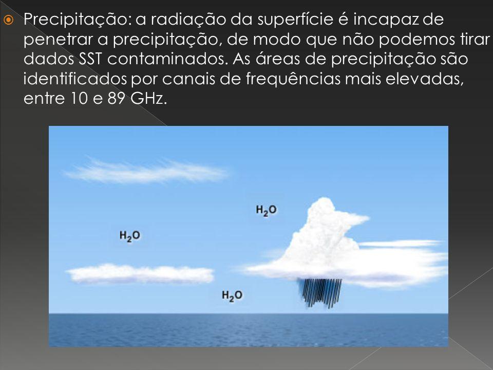 Precipitação: a radiação da superfície é incapaz de penetrar a precipitação, de modo que não podemos tirar dados SST contaminados.