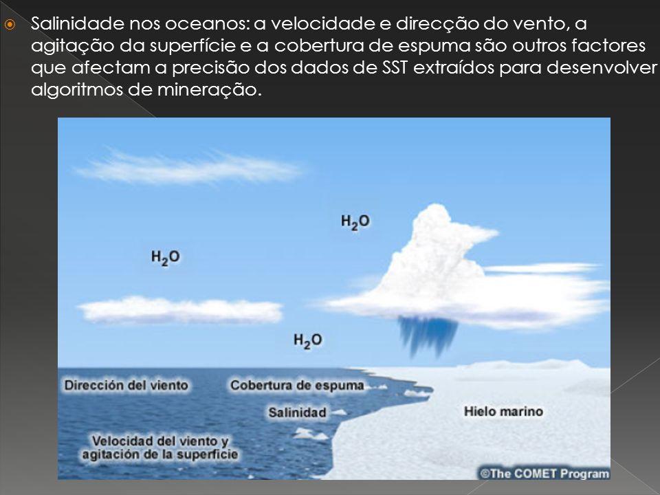 Salinidade nos oceanos: a velocidade e direcção do vento, a agitação da superfície e a cobertura de espuma são outros factores que afectam a precisão dos dados de SST extraídos para desenvolver algoritmos de mineração.