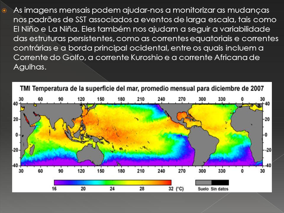 As imagens mensais podem ajudar-nos a monitorizar as mudanças nos padrões de SST associados a eventos de larga escala, tais como El Niño e La Niña.