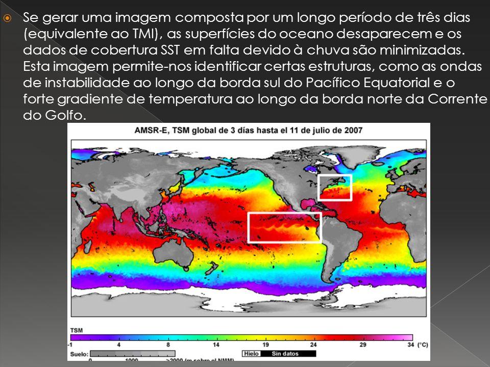 Se gerar uma imagem composta por um longo período de três dias (equivalente ao TMI), as superfícies do oceano desaparecem e os dados de cobertura SST em falta devido à chuva são minimizadas. Esta imagem permite-nos identificar certas estruturas, como as ondas de instabilidade ao longo da borda sul do Pacífico Equatorial e o forte gradiente de temperatura ao longo da borda norte da Corrente do Golfo.