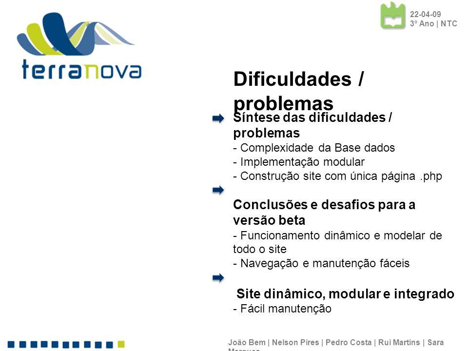 Dificuldades / problemas