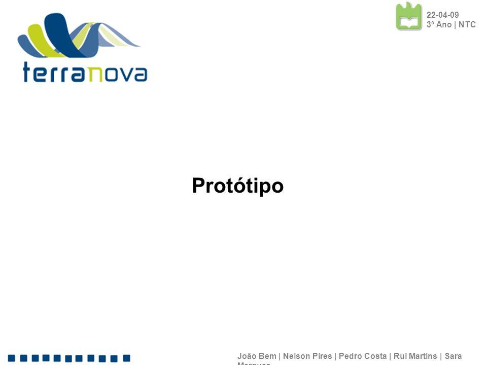 22-04-09 3º Ano | NTC Protótipo. João Bem | Nelson Pires | Pedro Costa | Rui Martins | Sara Marques.