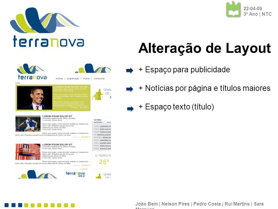 22-04-09 3º Ano | NTC Alteração de Layout + Espaço para publicidade + Notícias por página e títulos maiores.