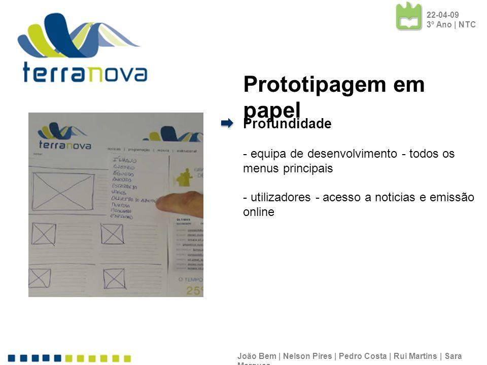Prototipagem em papel Profundidade