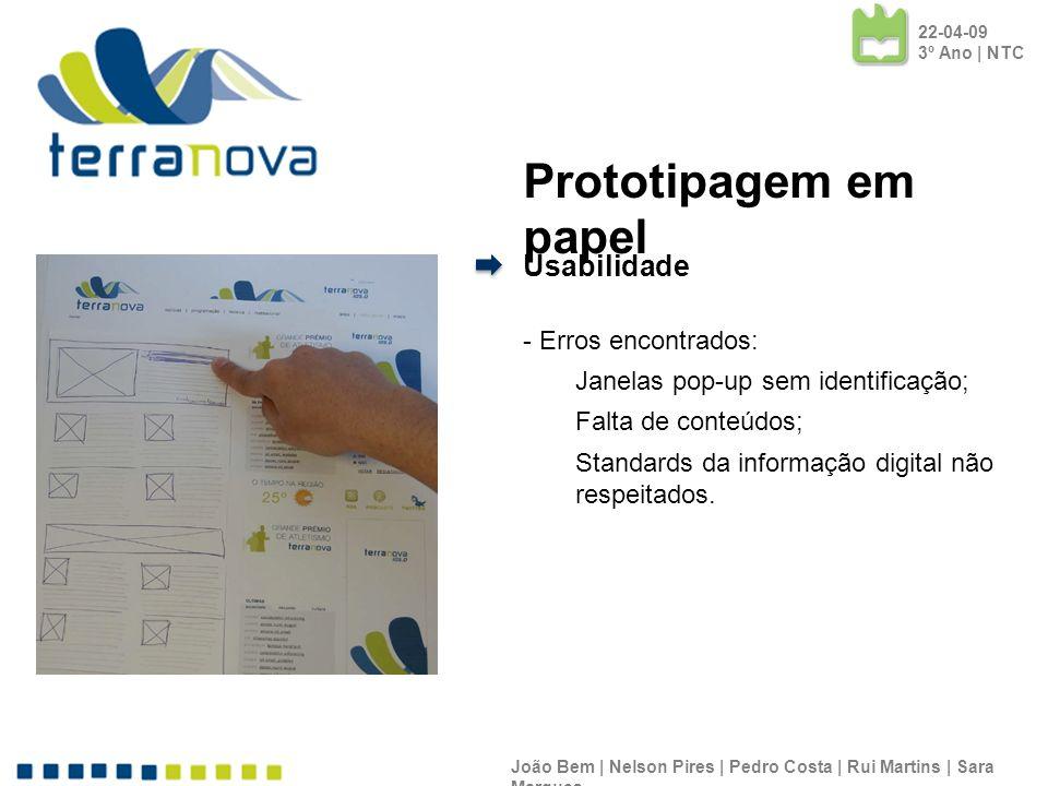 Prototipagem em papel Usabilidade - Erros encontrados: