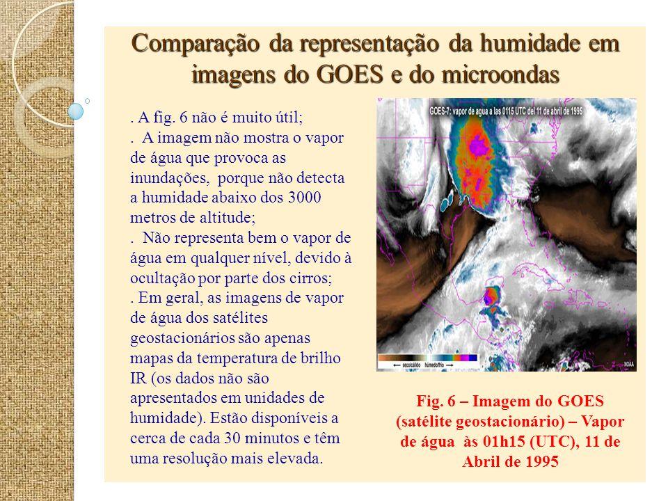 Comparação da representação da humidade em imagens do GOES e do microondas