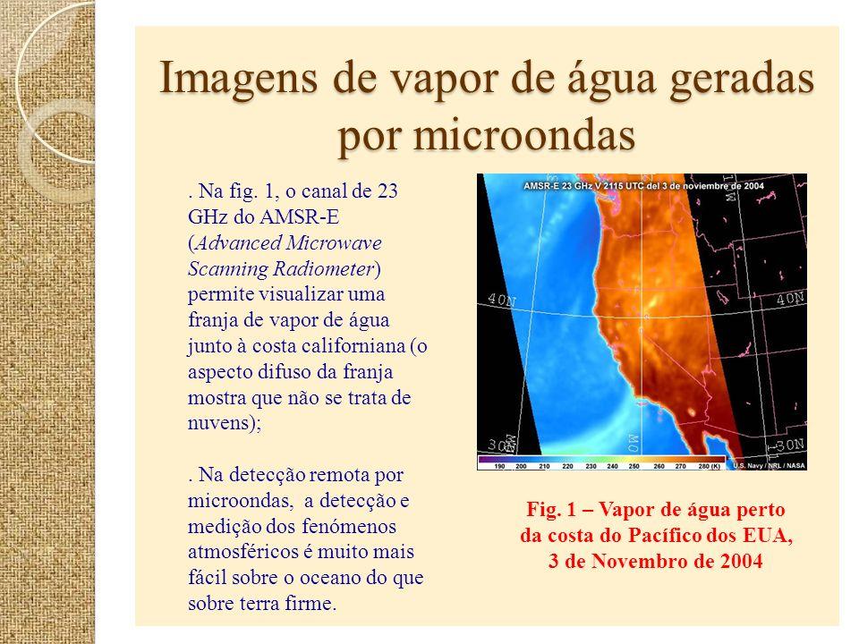 Imagens de vapor de água geradas por microondas