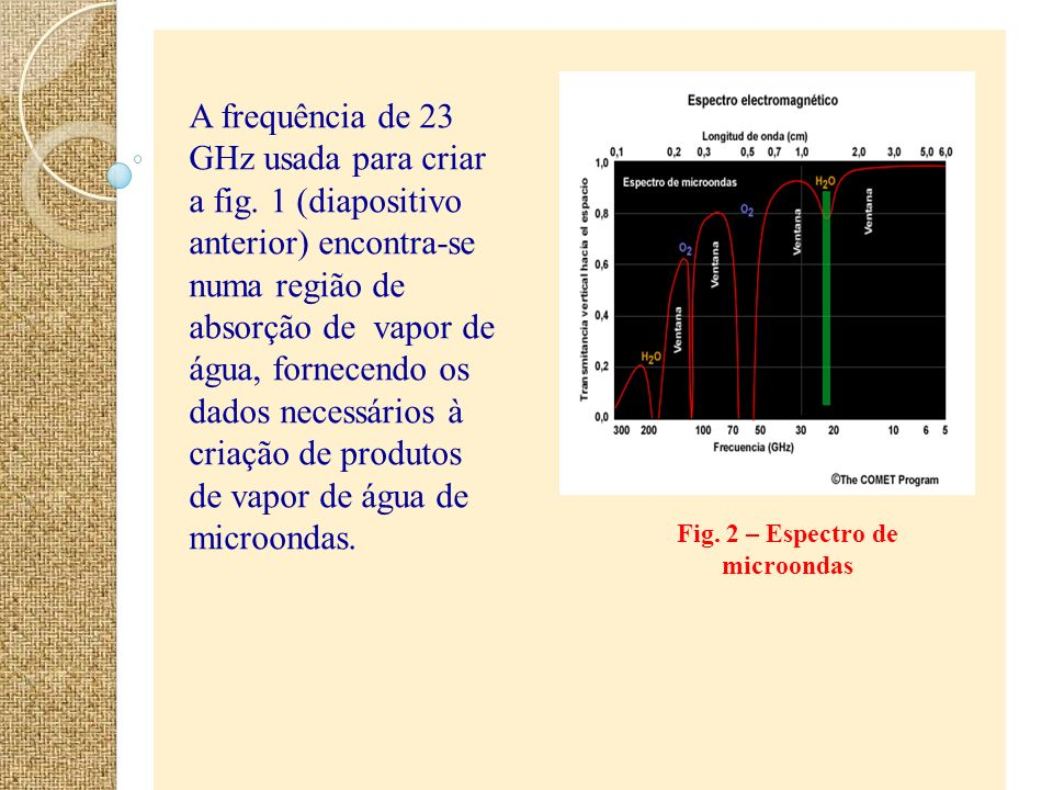 Fig. 2 – Espectro de microondas