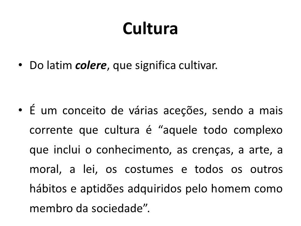 Cultura Do latim colere, que significa cultivar.