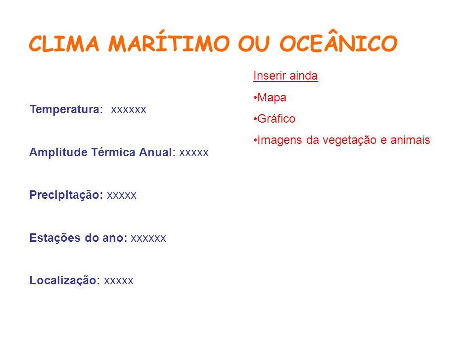 CLIMA MARÍTIMO OU OCEÂNICO