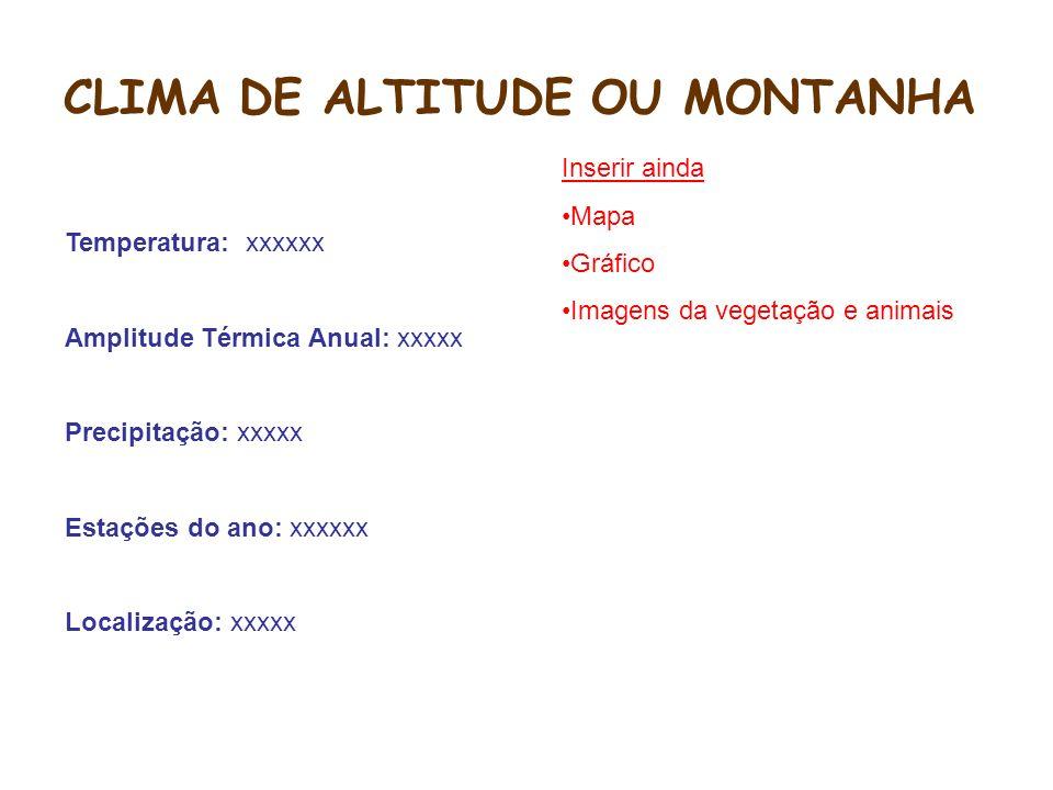 CLIMA DE ALTITUDE OU MONTANHA
