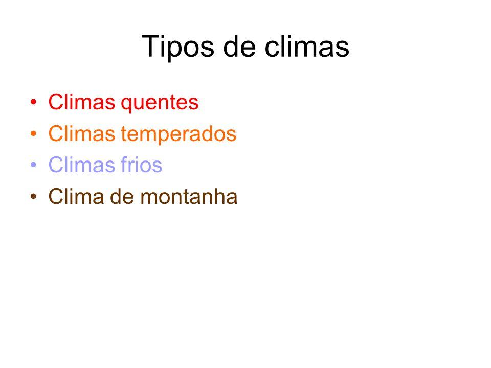 Tipos de climas Climas quentes Climas temperados Climas frios