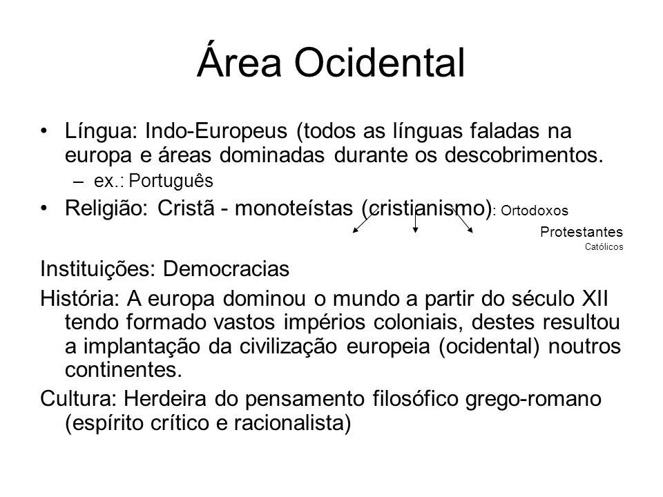 Área Ocidental Língua: Indo-Europeus (todos as línguas faladas na europa e áreas dominadas durante os descobrimentos.
