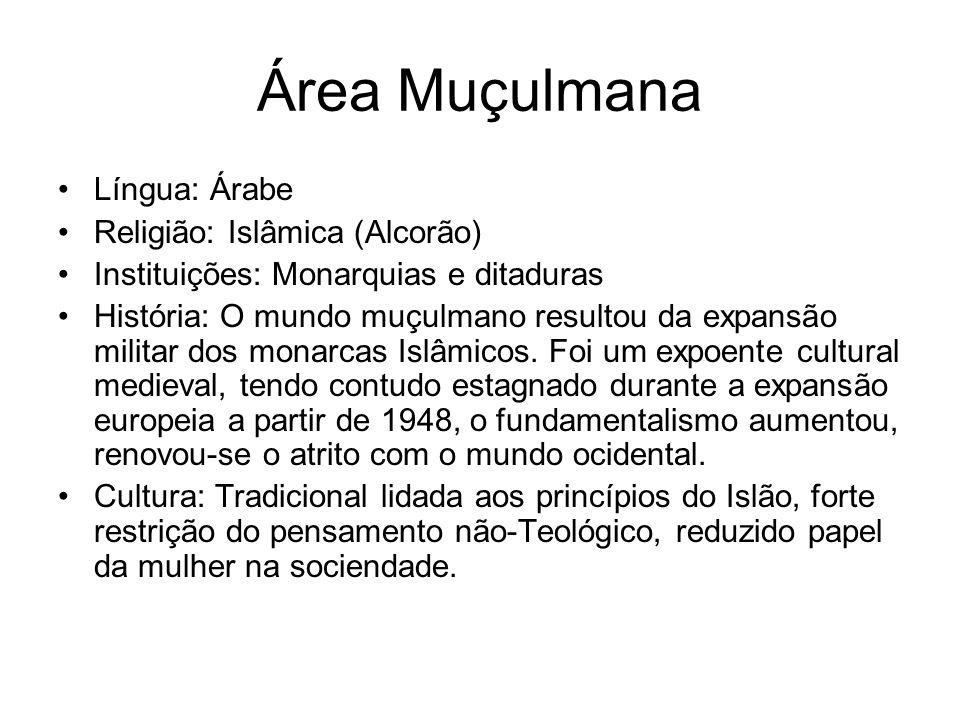 Área Muçulmana Língua: Árabe Religião: Islâmica (Alcorão)