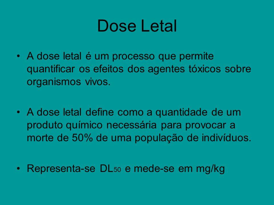 Dose Letal A dose letal é um processo que permite quantificar os efeitos dos agentes tóxicos sobre organismos vivos.