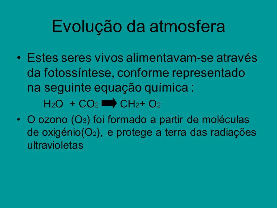 Evolução da atmosfera Estes seres vivos alimentavam-se através da fotossíntese, conforme representado na seguinte equação química :