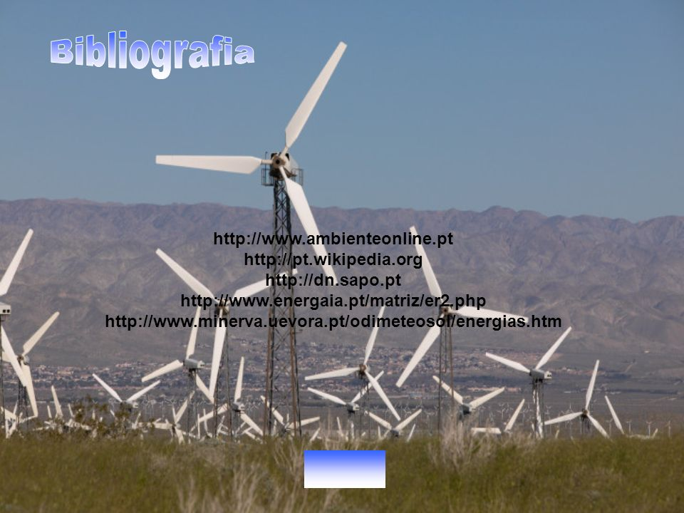 Bibliografia http://www.ambienteonline.pt http://pt.wikipedia.org