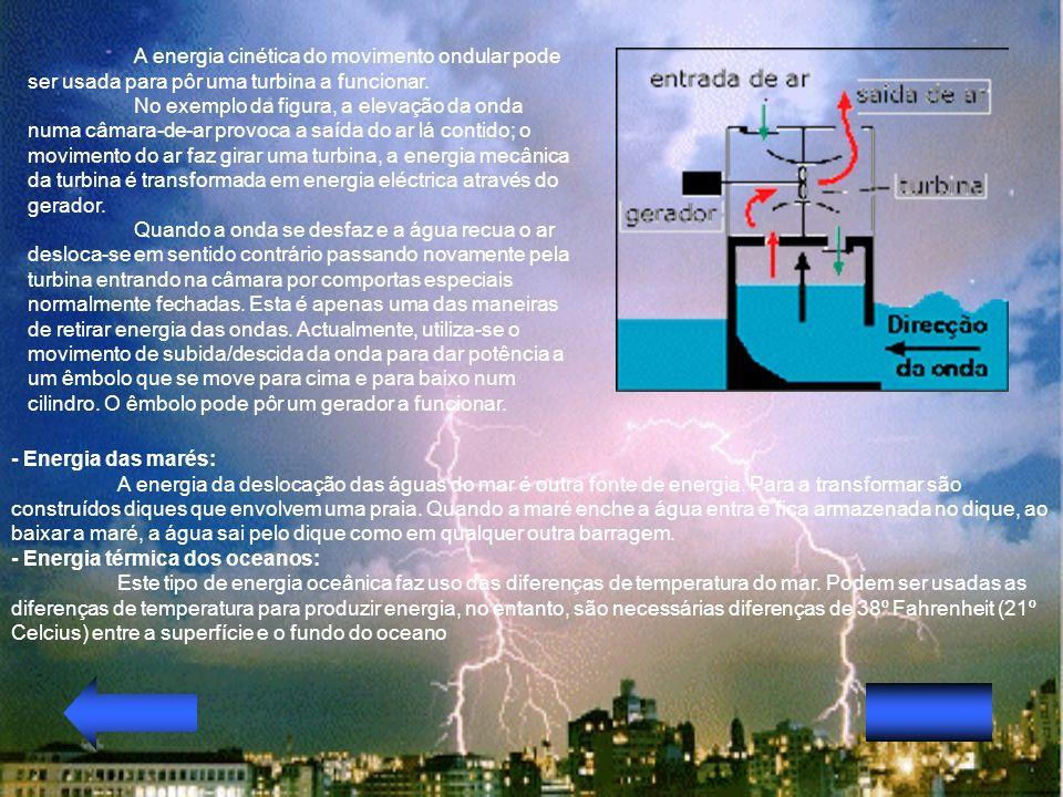 A energia cinética do movimento ondular pode ser usada para pôr uma turbina a funcionar.