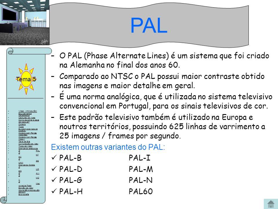 PAL Tema 5. O PAL (Phase Alternate Lines) é um sistema que foi criado na Alemanha no final dos anos 60.