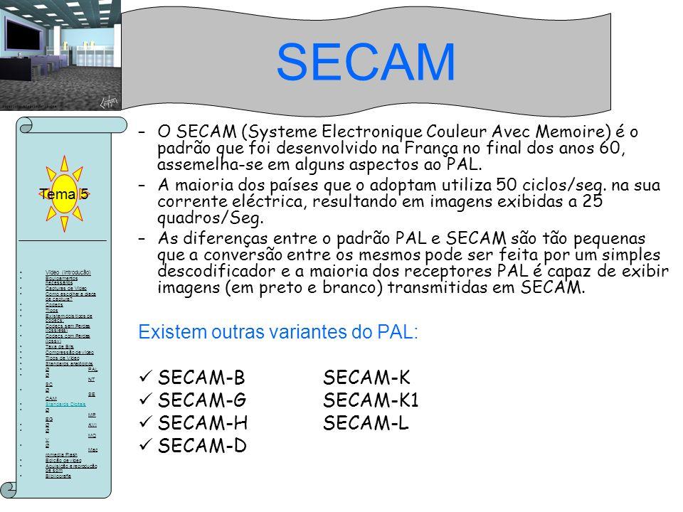 SECAM Existem outras variantes do PAL: SECAM-B SECAM-K