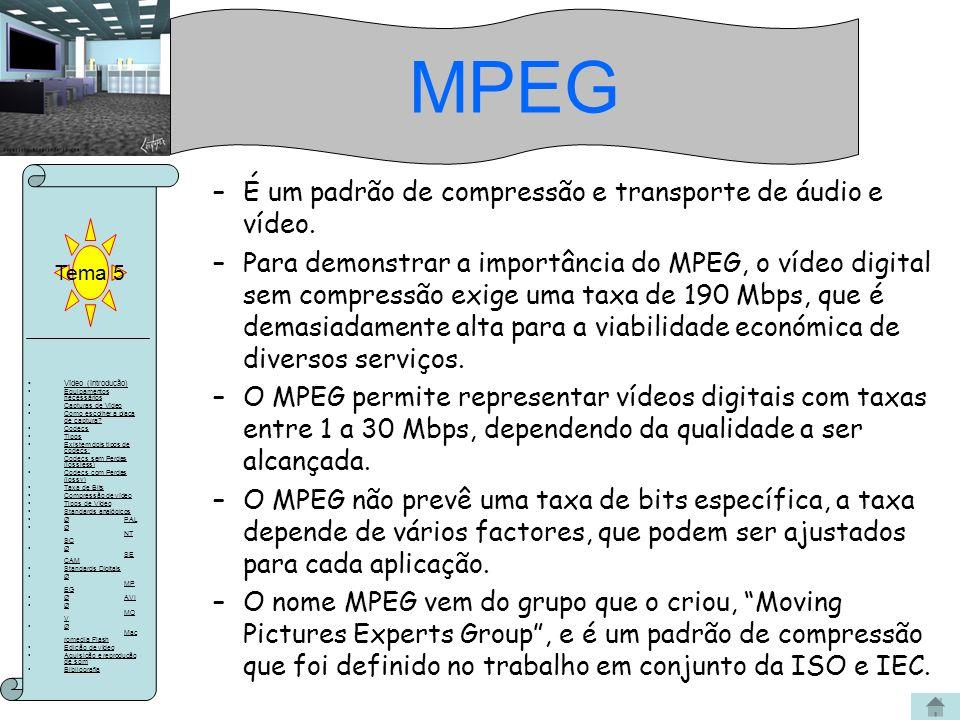 MPEG É um padrão de compressão e transporte de áudio e vídeo.