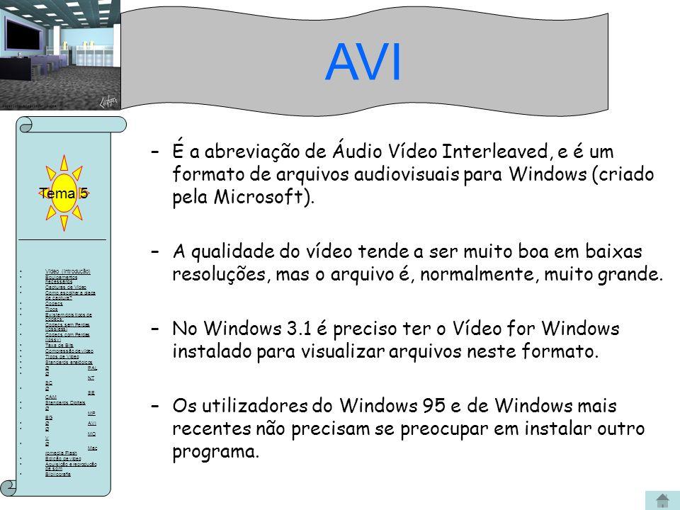 AVI Tema 5. É a abreviação de Áudio Vídeo Interleaved, e é um formato de arquivos audiovisuais para Windows (criado pela Microsoft).