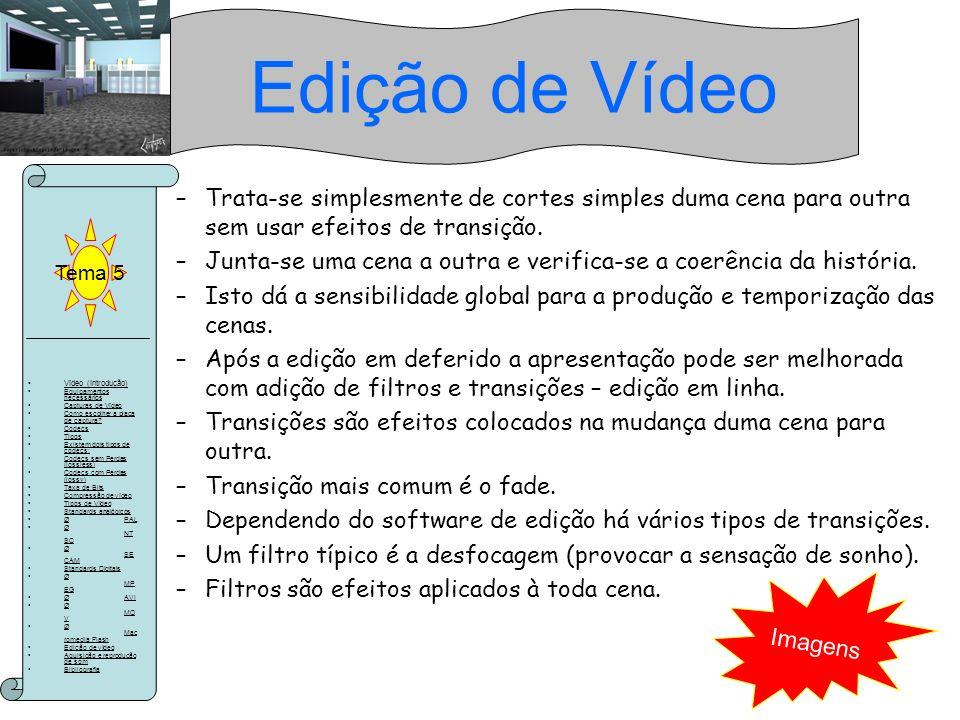 Edição de Vídeo Tema 5. Trata-se simplesmente de cortes simples duma cena para outra sem usar efeitos de transição.