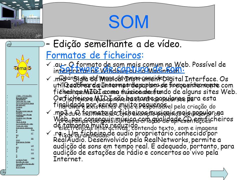 SOM Edição semelhante a de vídeo. Formatos de ficheiros: