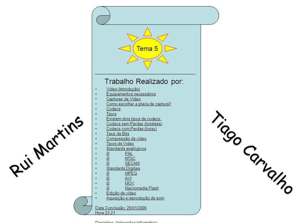 Rui Martins Tiago Carvalho Trabalho Realizado por: Tema 5