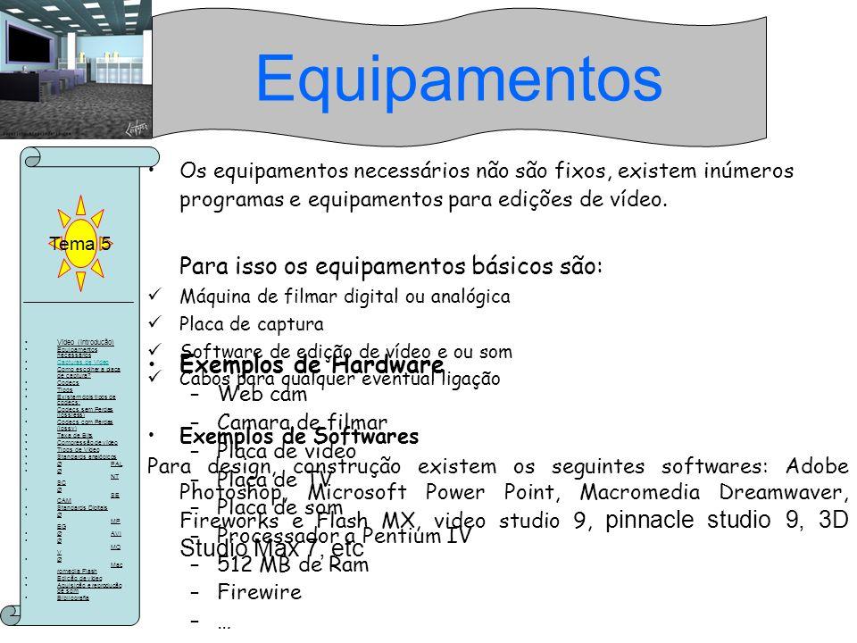 Equipamentos Para isso os equipamentos básicos são: